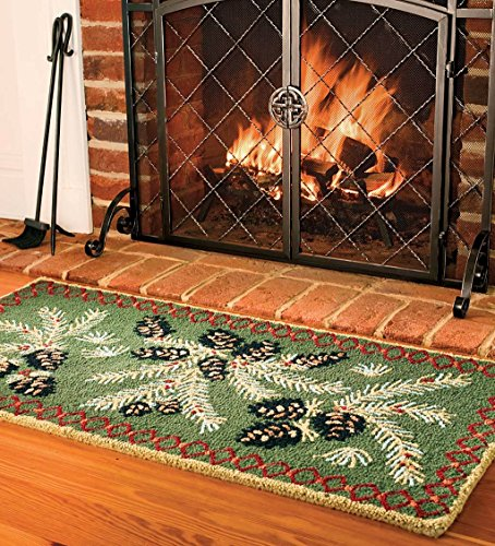 Fireplace Rug Wool: Fire Resistant Pine Cone Fireplace Hearth Rug, 100% Hooked