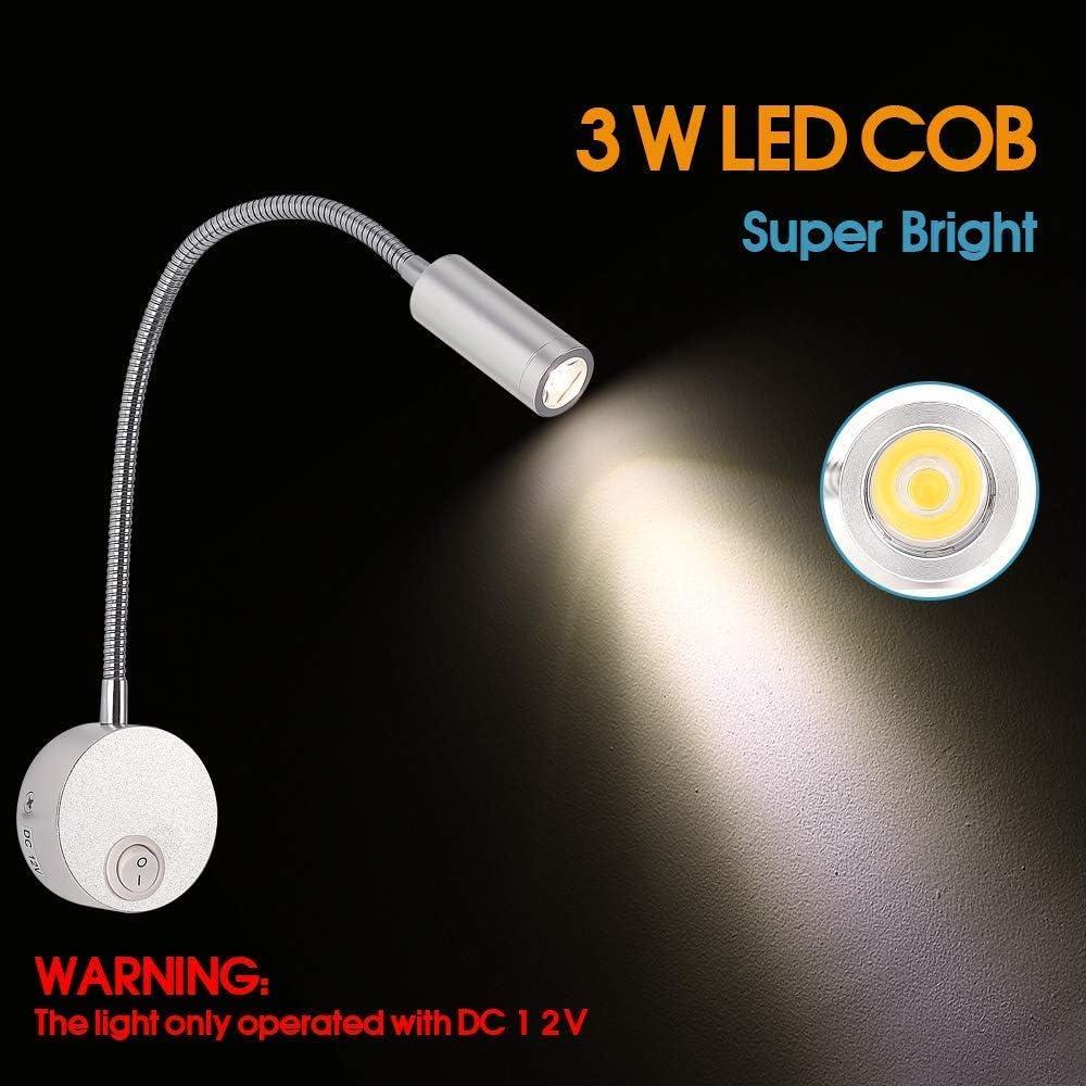 Boot Wohnwagen Wohnmobil Nrpfell 12V Lese Lampe mit USB Lade Anschluss RV Innen Beleuchtung Flexible LED Leuchten Entwickelt f/ür Auto Schwarz