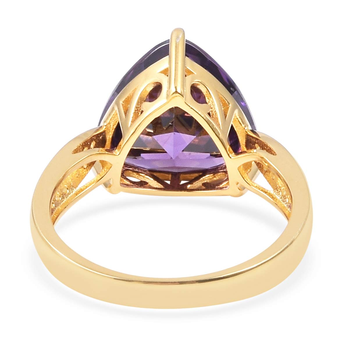Yellow Gold Plated 925 Sterling Silver Statement Ring White Cubic Zirconia CZ Gift Jewelry for Women Size 7 Ct 6