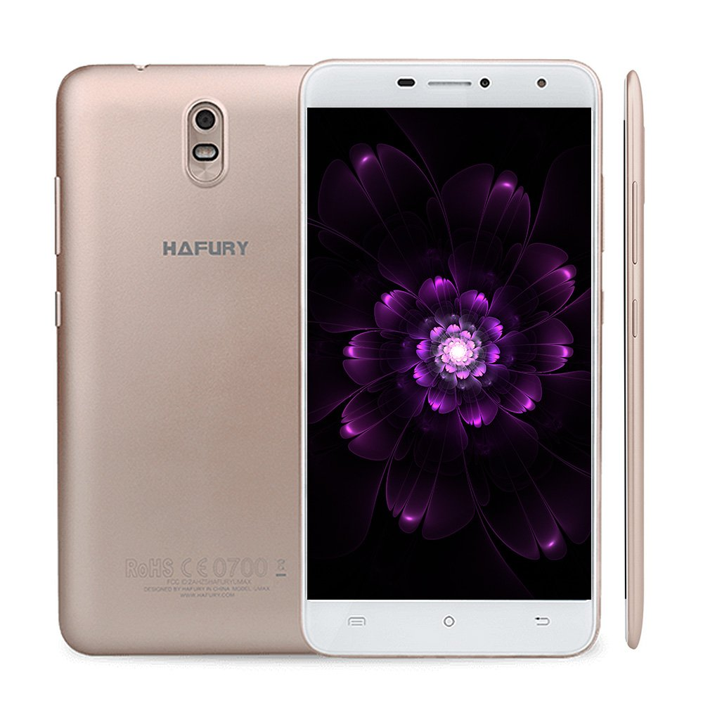 HAFURY UMAX 6.0 inch 3G Phablet Tablet Unlocked Smartphone Dual Sim Android 7.0 2GB RAM+16GB ROM 4500mAh Battery OTG Back and Rear Camera 1280 x 720 Pixel IPS Screen (Gold)