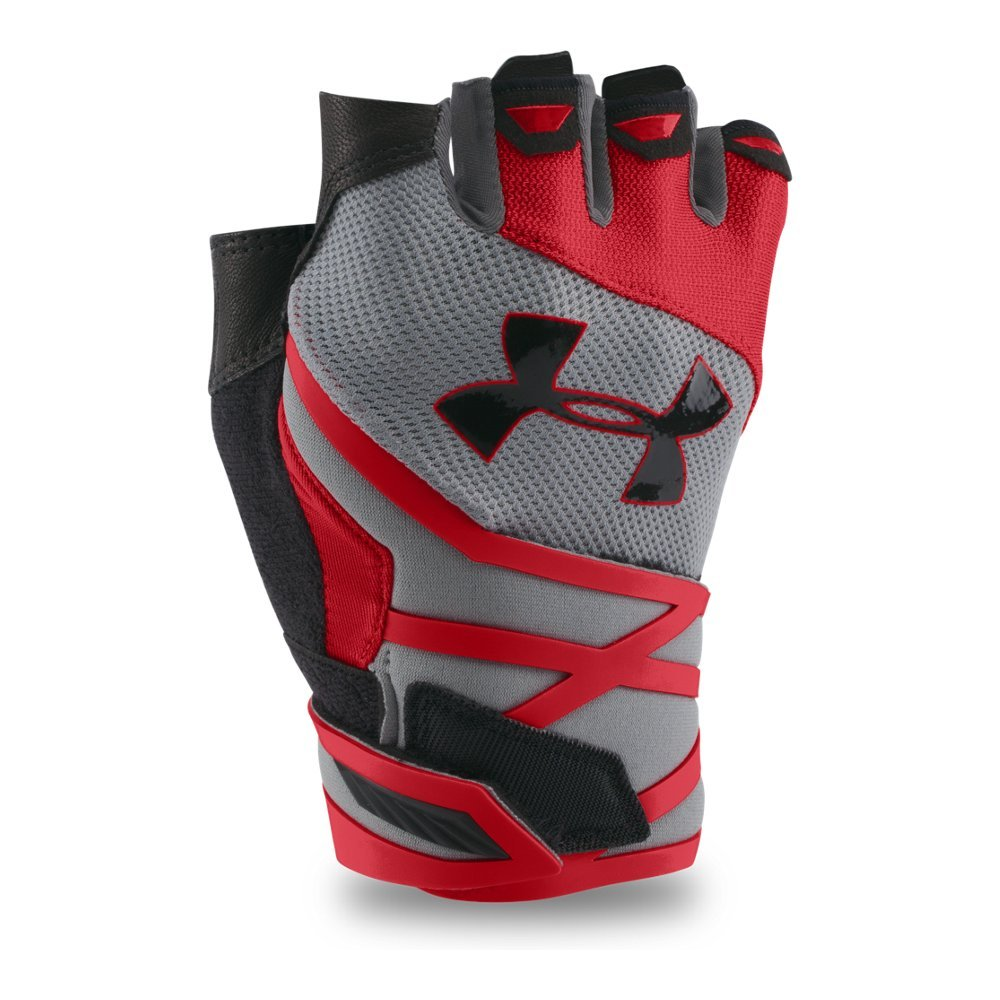 Under Armour Men's Resistor Half-Finger Training Gloves, Steel /Black, Small/Medium