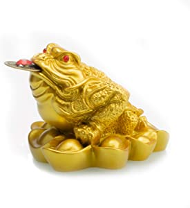 Feng Shui Resin Money Frog (Three Legged Toad/Wealth Frog) Figure Home Office Decoration(Gold, L)