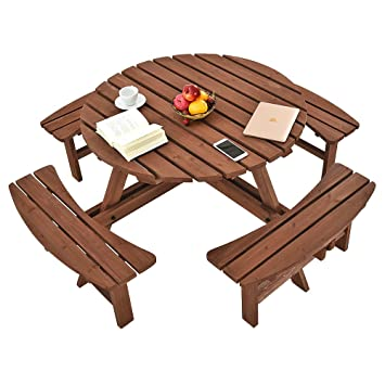 ZeHuoGe A Classic Circular Beer Garden Picnic Bench Wooden Round - Picnic table seats 8