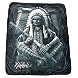 DGA Indigenous Warrior High Defenition Super Soft Plush Micro Fleece Blanket 50x60 Inches - Native