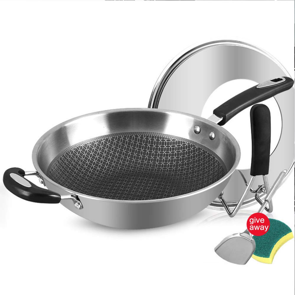 muxiao Stainless Steel Skillet Nonstick Saute Pan, 14 Inch Nonstick Fry Pan 7 Layer Omelet Pan Frying Pan, with Lid, Lid Handle, Spatula, Sponge, Brush by muxiao