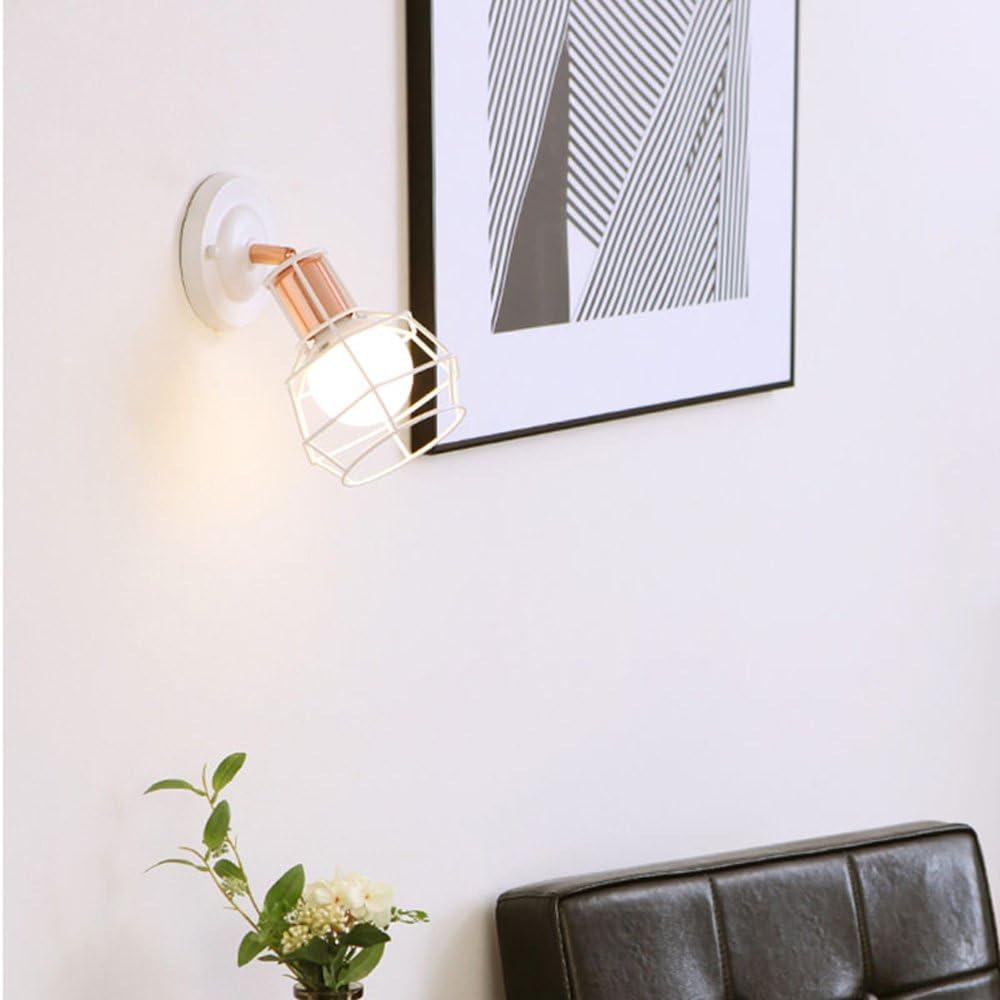 L/ámpara de pared de jaula de oro de metal moderno Decorar casa de campo Dormitorio Mesita de noche Sala de estar Lectura Aplique de pared industrial L/ámpara de pared AC90-220V Luz blanca E27