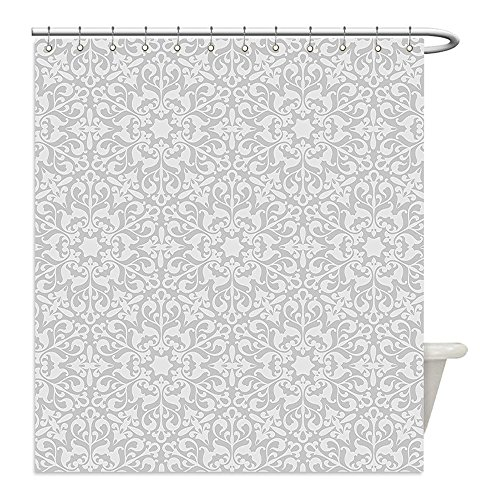 Liguo88 Custom Waterproof Bathroom Shower Curtain Polyester Grey Decor Collection Antique Floral Motifs Arabian Islamic Art Patterns in Mod Graphic Design Oriental Boho Chic Deco Gray Decorative bath by liguo88