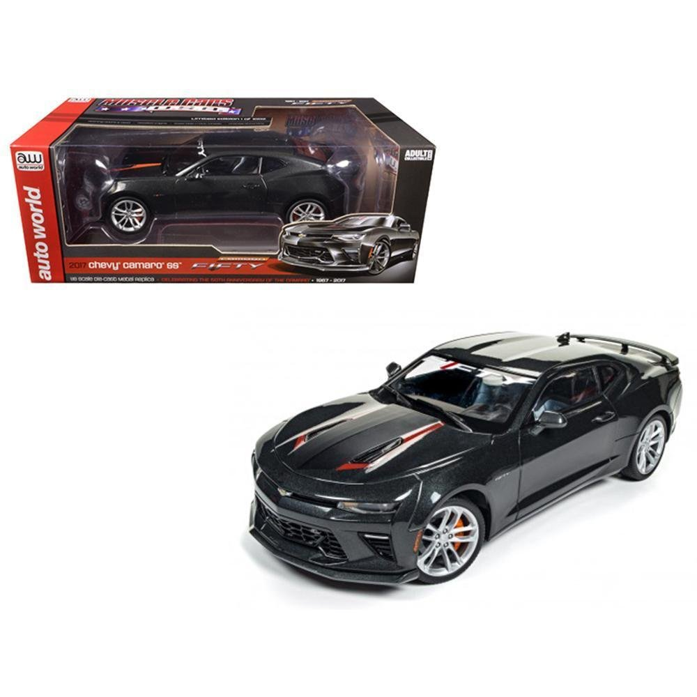 Autoworld AW243 2017 Chevrolet Camaro SS Nightfall Gray Metallic 50th Anniversary Limited Edition to 1002pc 1 by 18 Diecast Model Car AUTO WORLD RTAW243