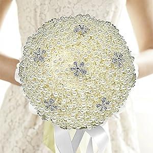 MyGift Wedding Bouquet, Elegant Faux Pearl Ivory Bridal Wedding Throw Bouquet, Bridesmaid Rhinestone Flowers 24