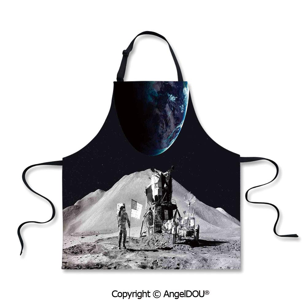 SCOXIXI Durable Polyester Waterproof Apron Moon US Spaceman Launching on The Exploring Dark Matter Orbit Luna Design Waterproof Aprons for Restaurant BBQ Grill. by SCOXIXI