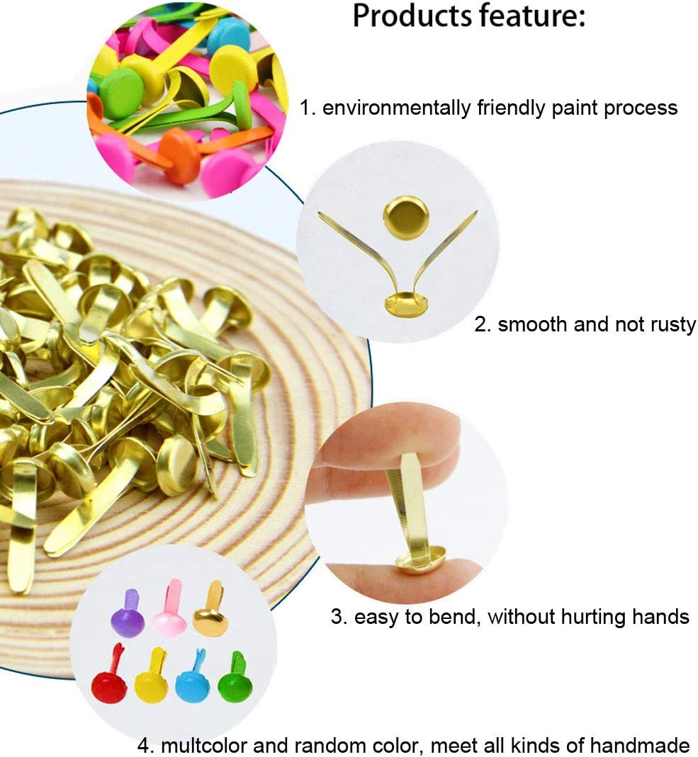 Craft Pins Pushpin MAMUNU 500 Pieces Assorted Sizes Split Pins DIY Art Craft Accessories Multicolor and Round Brass Plated Paper Fasteners with Storage Box Scrapbooking Brads