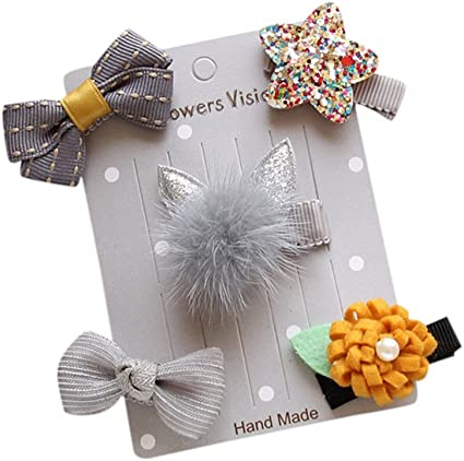 5Pcs Kids Baby Girl Hairpin Hairband Bow Barrettes Hair Clip Headband Set US