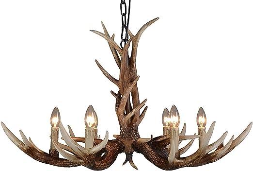 6 Kopf 60cm Retro Hirschhorn Geweih Harz Pendelleuchte Kronleuchter Kerze Deckenleuchte