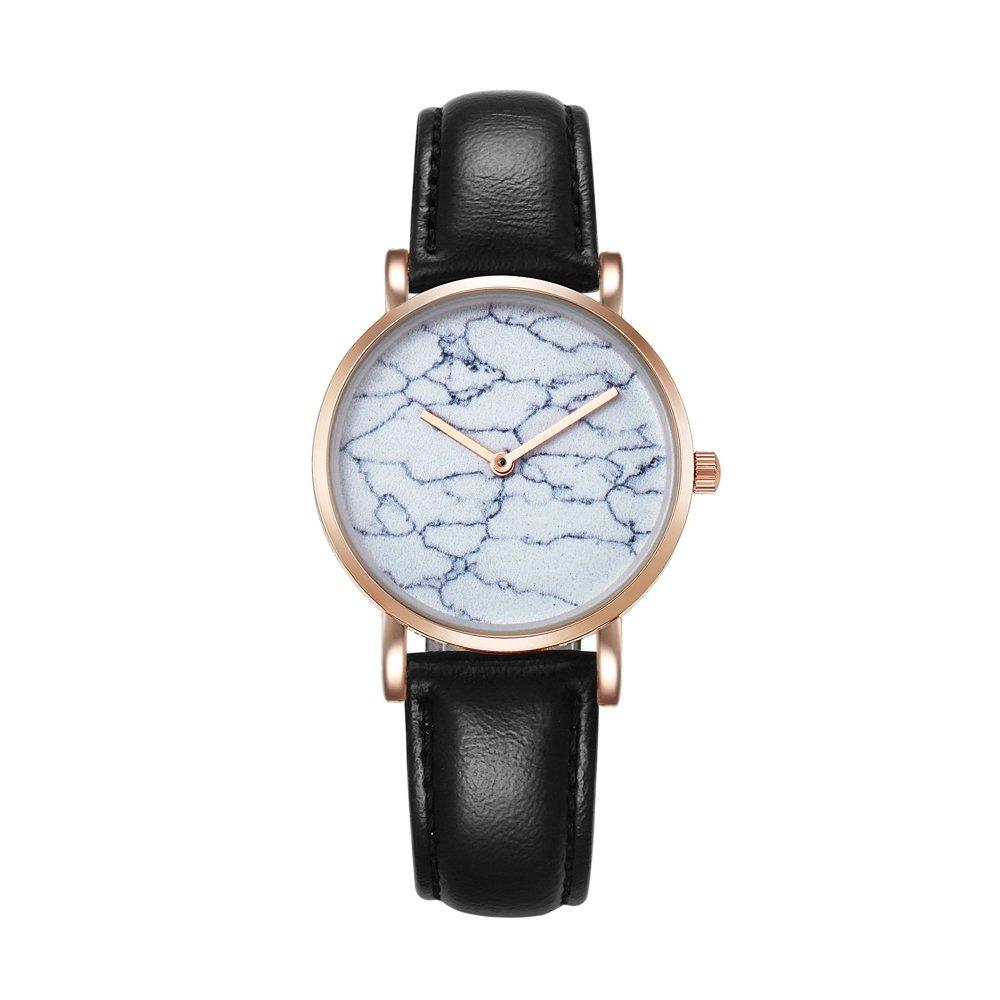 6812 Round Dial Alloy Gold Case Fashion Women Watch Quartz Watches With PU Leather Band (SKU : Wa0728b)