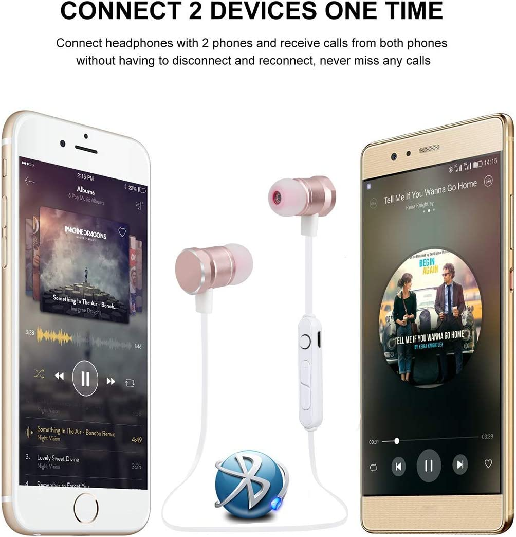 Shopping Online SAN.COMO Bluetooth Headphones,Wireless Earbuds Sweatproof Earphones Magnetic Attraction Stereo Headphones for Running Workout Gym Noise Cancelling (Gold) Rose Gold ldjyVGG