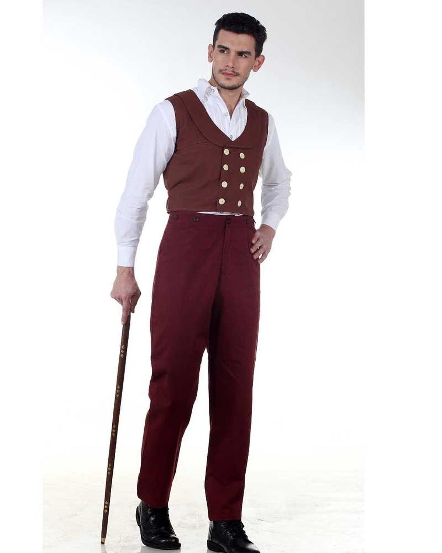 ThePirateDressing Steampunk Victorian Gothic Punk Vampire Gentlemen Classic Pants Costume C1329 [Maroon] [X-Large]