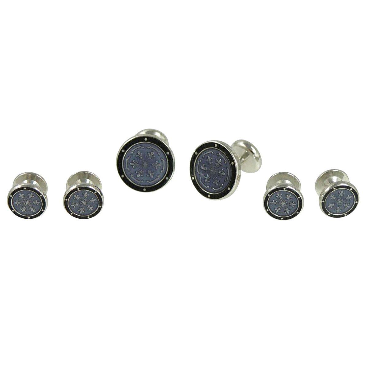 Baade Black and Grey Floral Shirt Stud Cufflinks Set
