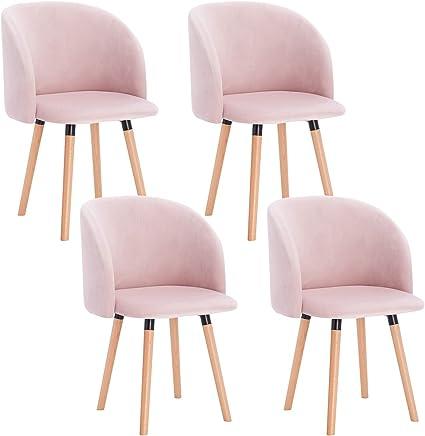 WOLTU 4 x Esszimmerstühle 4er Set Esszimmerstuhl Küchenstuhl Polsterstuhl Design Stuhl mit Armlehne, mit Sitzfläche aus Samt, Gestell aus Massivholz,