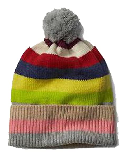 Image Unavailable. Image not available for. Color  Gap Womens Crazy Stripe  Pom Pom Merino Wool Blend Winter Hat f7ed338d2c31