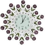 "Cheap Lulu Decor, Flower Burst Wall Clock 24"", White Glass Dial with Arabic Numerals 8.5"", Decorative Metal Wall Clock for Living Room, Bedroom, Office Space"