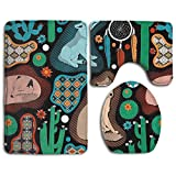 Huadduo Southwest Baby Wolves 3 Piece Bathroom Rug Mat Set Soft Memory Foam Bath Carpet Contour Rug With Lid Cover