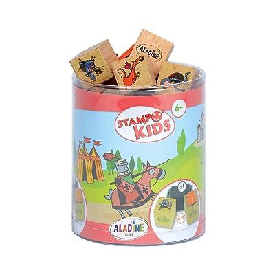 Aladine 3332 Stampominos - Lote de Sellos de Madera y tampón para Decorar, diseño de Caballeros: Juguetes y juegos
