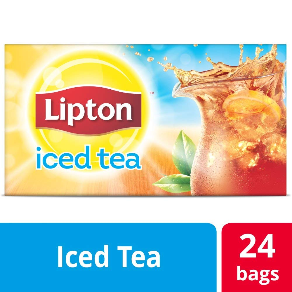 Lipton Black Unsweetened Iced Tea Bags Made with Tea Leaves Sourced from Rainforest Alliance Certified Farms, 1 gallon, 4x Pack of 24