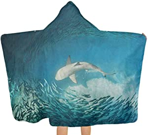 """shirlyhome Hooded Beach Towel Sea Animals Hooded Towels for Baby Shark and Small Fish Ocean Wilderness Waterscape Wildlife Nature Theme Picture Teal Beige Size 30""""x50"""""""