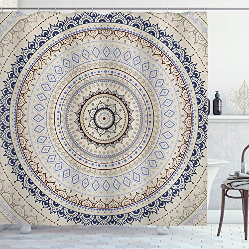 Mandala Decor Shower Curtain by Ambesonne, Retro East Back with Swirled Ethnic Harmonic Cosmic Lotus Yoga Boho Artwork, Fabric Bathroom Decor Set with Hooks, 70 Inches, Beige Blue (Cosmic Christmas Yoga)