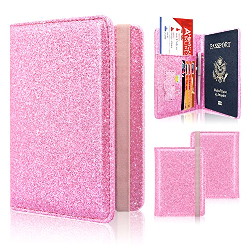 Passport Holder Cover, ACdream Travel Leather RFID Blocking Case Wallet for Passport with Elastic Band Closure, Pink Glitter