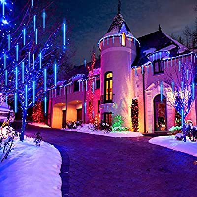 String lights,Paragala Waterproof Falling Rain Fairy Lights With 50cm 240 LED 8 Tubes Meteor Shower Rain LED Christmas Lights for Wedding Party Xmas Tree Indoor Outdoor Gardens Decoration