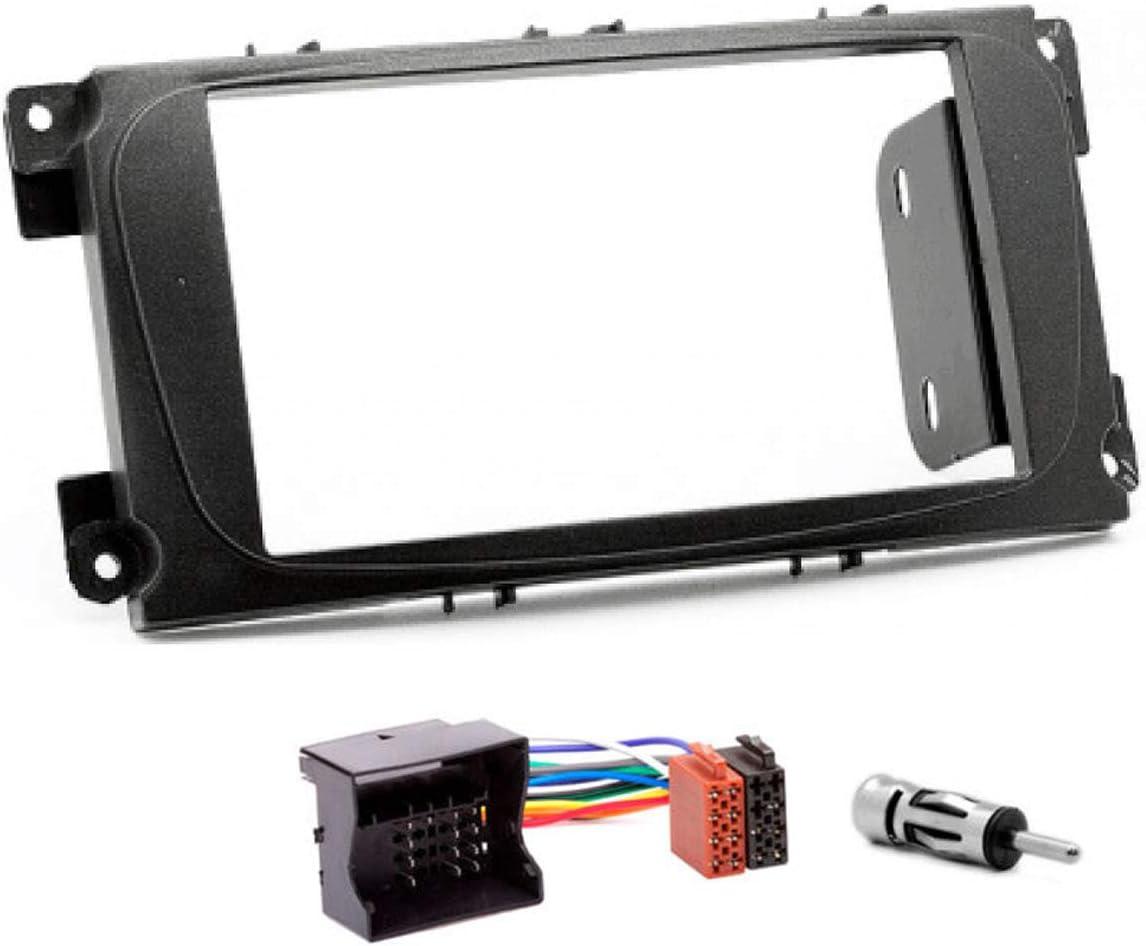Sound-way Sound-way Kit Montaje Autoradio, Marco 2 DIN con Soportes de Montaje, Cable Adaptador Conector ISO, Adaptador Antena, compatibile con Ford ...