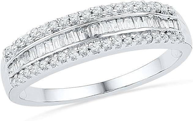 1//2ct Diamond Wedding Ring Womens Eternity Band 10k White Gold