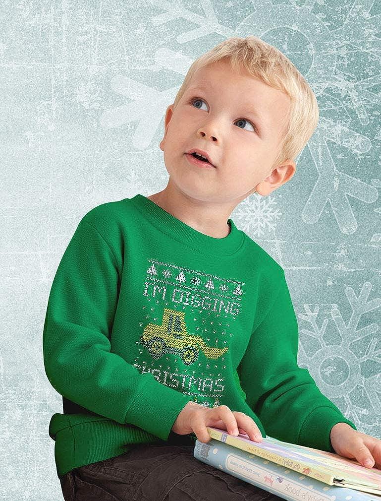 Im Digging Christmas Ugly Sweater Tractor Toddler//Kids Sweatshirt Tstars
