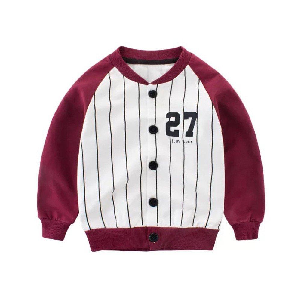Shiningup Kid Boy Girl Baseball Jacket Long Sleeve Striped Fashion School Sport Outwear Baby Top Age 1-8 Years Old
