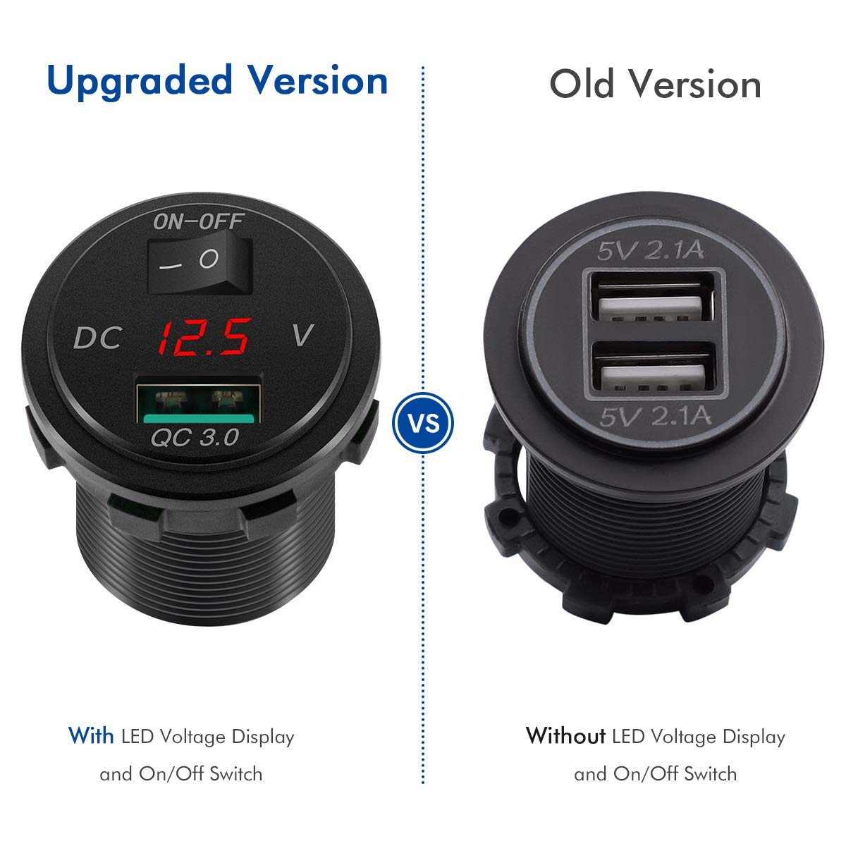 Presa QC3.0 USB per auto Caricabatterie per auto con Display Tensione e Interruttore per moto roulotte 12 V//24 V Caricatore USB Carica Rapida camion