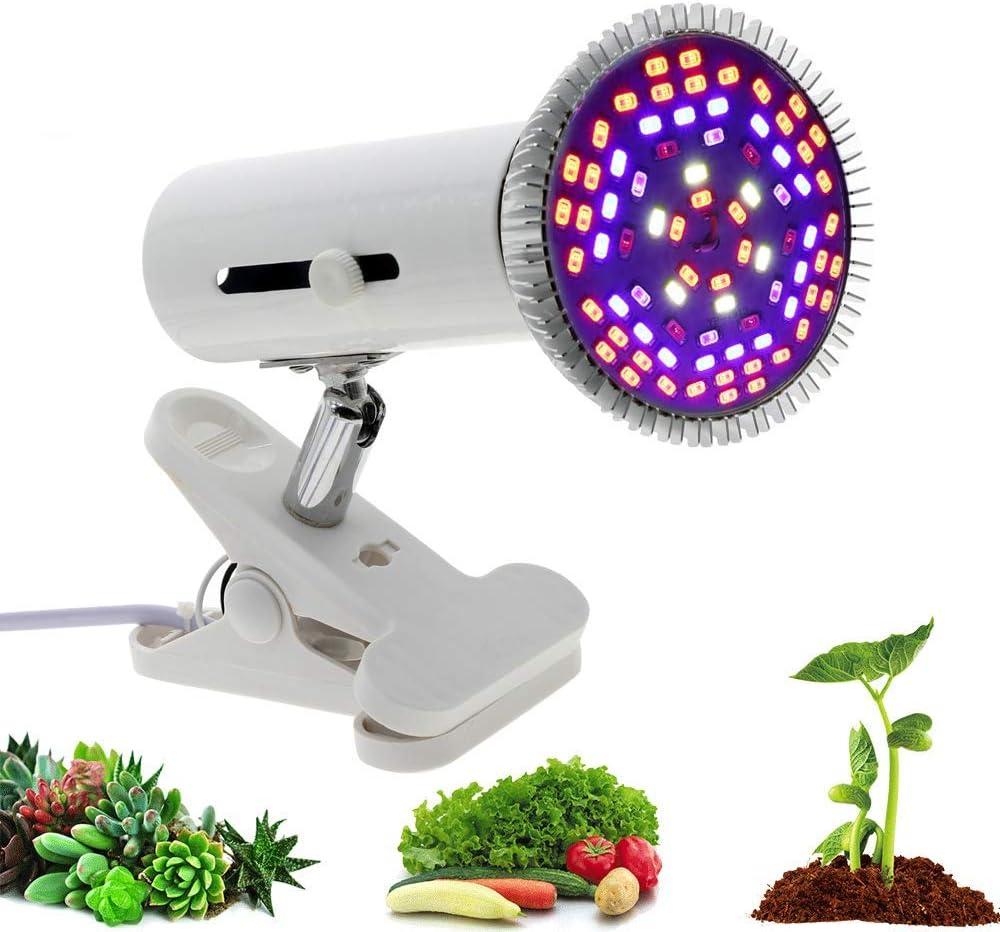Lámpara de la planta Plant crece la luz, la lámpara Plant 80W LED, puede ajustarse sin escalonamientos Modos de atenuación, con 360 ° Neck, Anti-Slip Clip, for el invernadero Garde