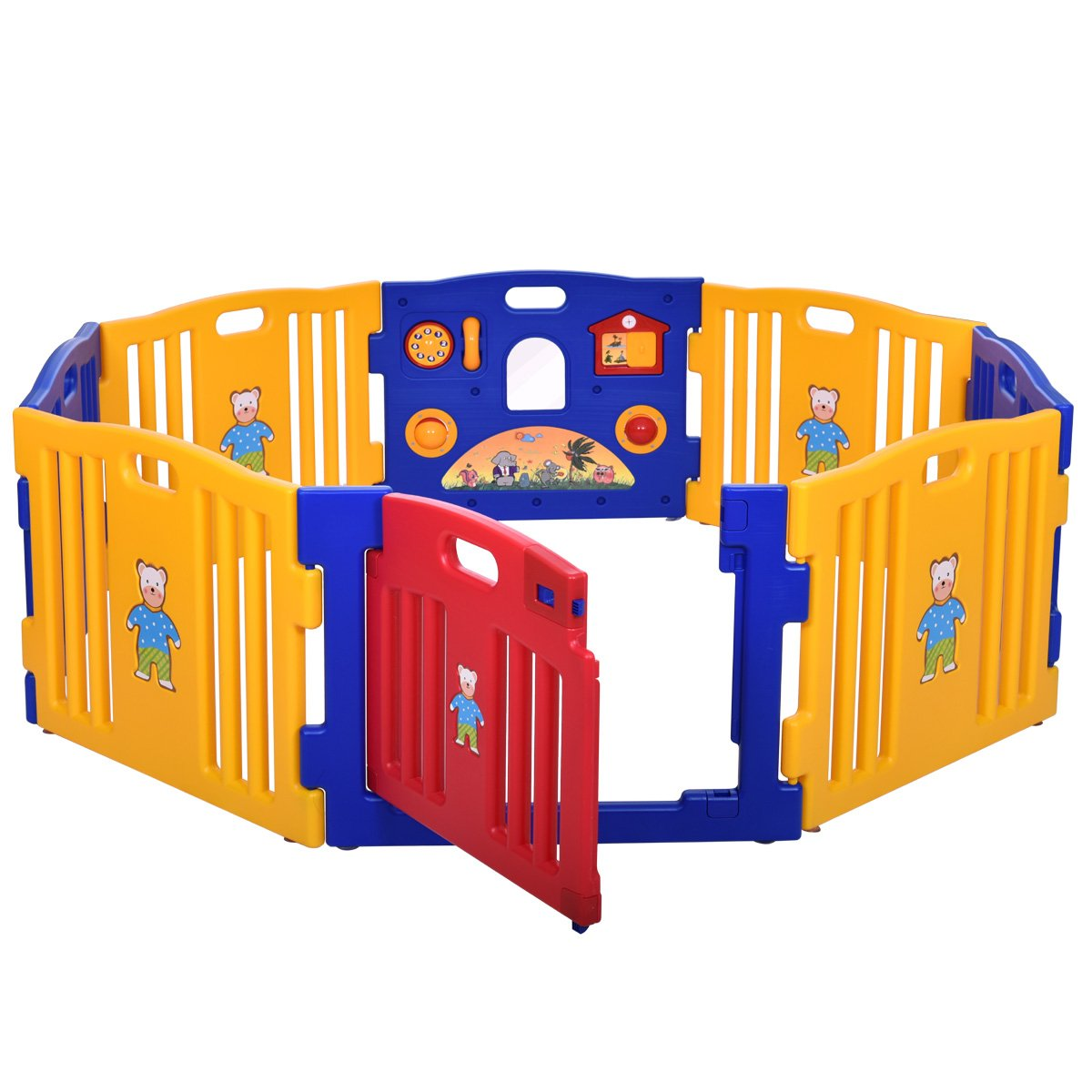 LAZYMOON Baby Playpen 8 Panel Foldable High PE Frame Kids Play Center Yard Indoor Outdoor Playards