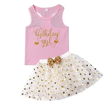7530d989e Amazon.com  3 Style Baby Girl Gold Letter Print Sleeveless Vest + ...