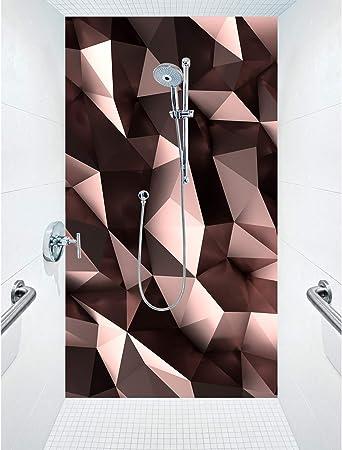 Mampara de ducha de aluminio compuesta como placa individual o juego de placas para ducha de esquina cortado a medida, diseño de polifux, oro rosa: Amazon.es: Bricolaje y herramientas
