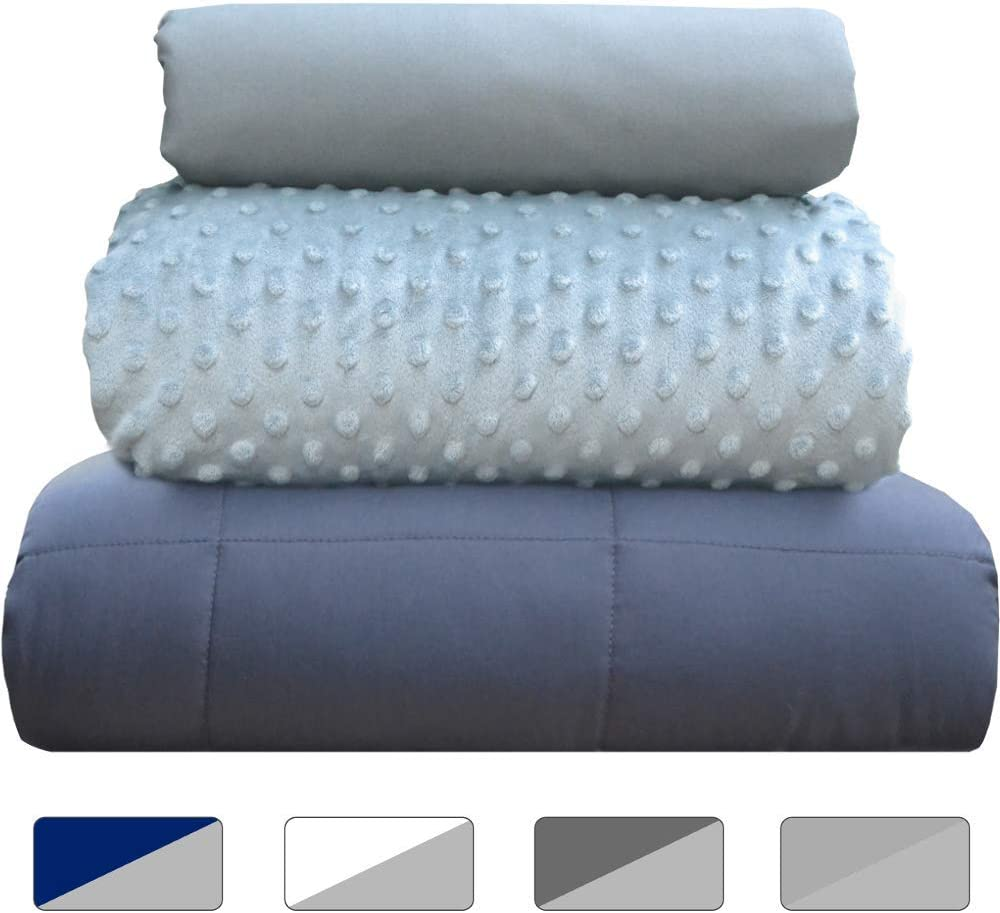 Stress Winter Duvet Covers 60in x 80in Summer Rocklin Industry Chilla 15 lbs Weighted Blanket Set Carbon 3 Piece Set Insomnia Gray Therapeutic for Anxiety ADHD