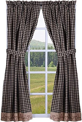 Primitive Home Decors Berry Vine Check Black and Nutmeg 63″ Lined Cotton Curtain Panel