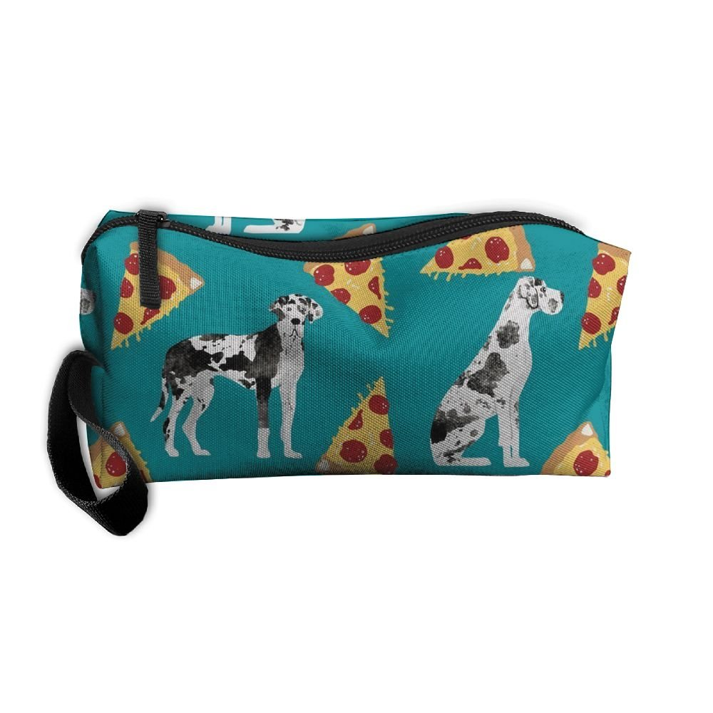Pauchen49 Great Dane Pizza Travel Kit Organizer Bathroom Storage Cosmetic Bag Carry Case Toiletry Bag For Women Or Girl good