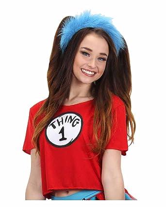 Amazon.com  elope Women s Dr. Seuss Thing 1   2 Crop Top Costume Kit ... 78fe6063ef