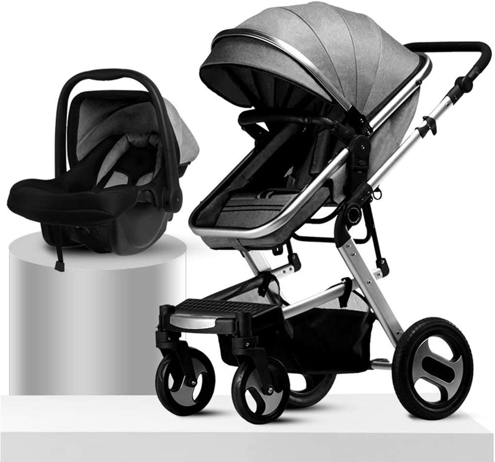 Foldable Kinderkraft Pram 3in1 Set Prime 2020 from Birth to 3.5 Years Carrycot Gray Elegant Baby Pushchair Travel System 0-15 Kg Accessories Buggy Footmuff Rain Cover with Infant Car Seat
