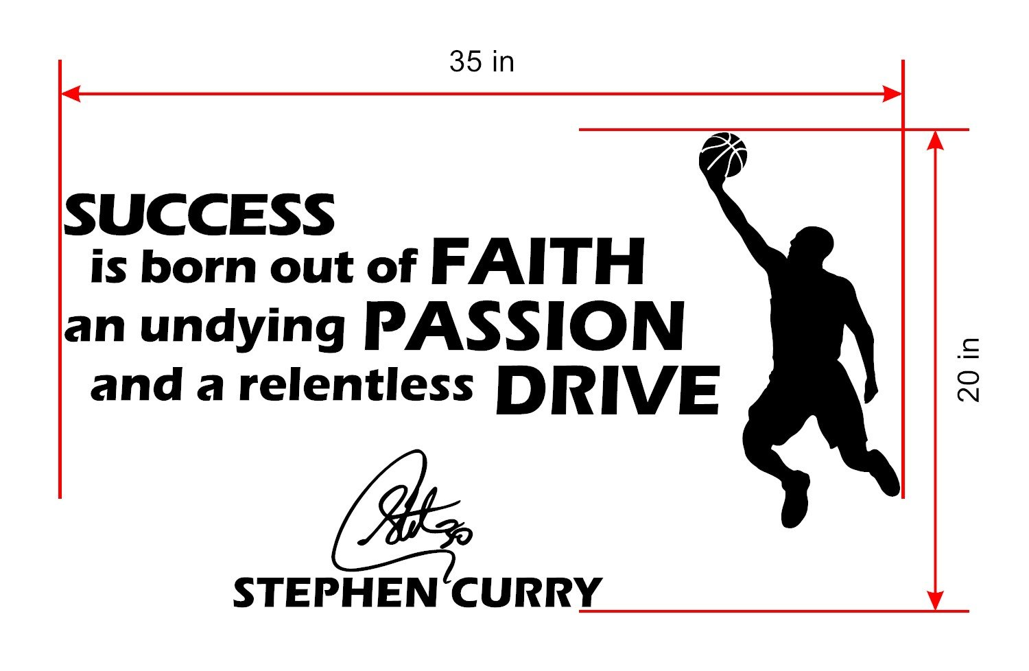 f94d5ac07a0e Basketball Wall Decals - Stephen Curry Famous Quote Decals - Motivational  Quotes Wall Decals  All Star Sports NBA Players Life Wall Art Decals.