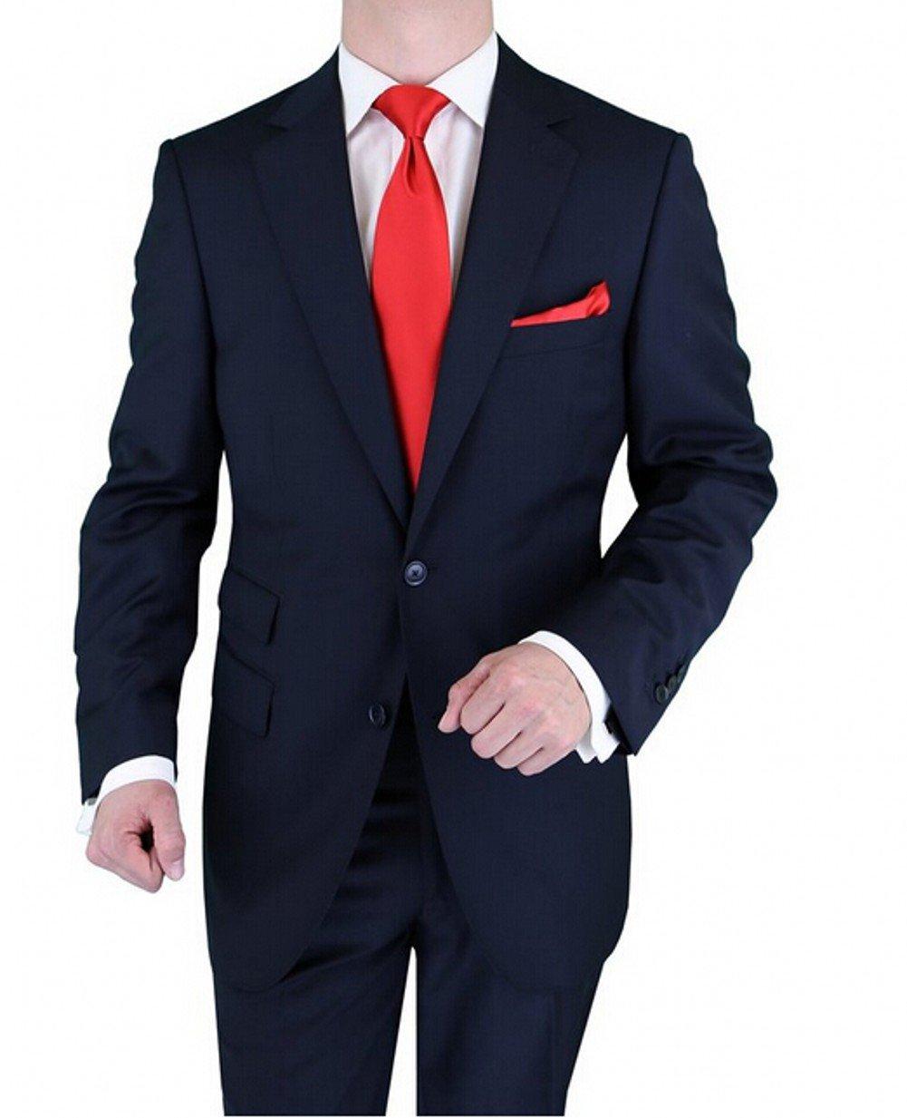Love Dress Men's Two-Button Suit Tuxedo Wedding Dress Navy 5XL