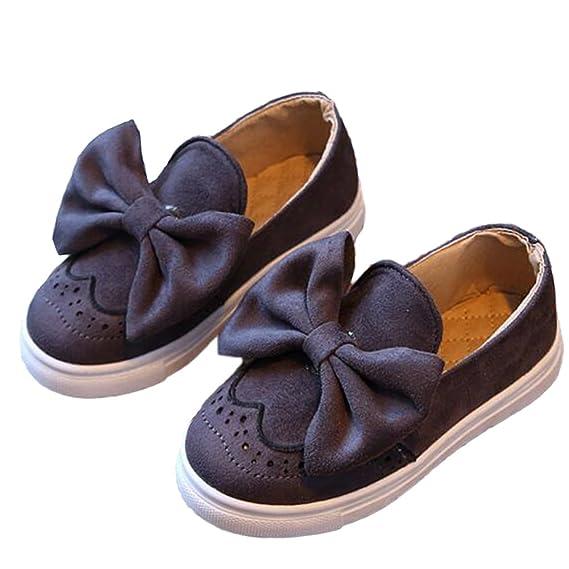 Minetom Chica Casual Adorable Color Sólido Arco Lona Zapatos Moda Bebé Niña Suave Y Cómodo Princesa Plana Calzado Mocasín: Amazon.es: Ropa y accesorios