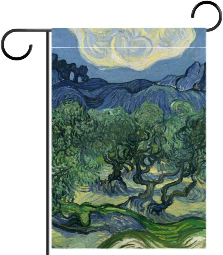ART VVIES Sin Soporte Montaña Olivo Pintura Jardín Bandera Patio Doble Cara Decoración al Aire Libre 12x18 Pulgadas Adorable