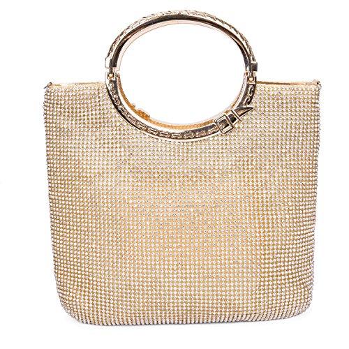 CLOCOLOR Bolso de mano con diamantes cristales brillantes cartera de mano con asas estilo elegante con gran espacio bolso de fiesta para mujer, Dorado